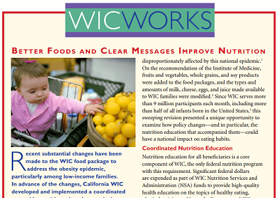 WIC WORKS: Better Foods and Clear Messages Improve Nutrition