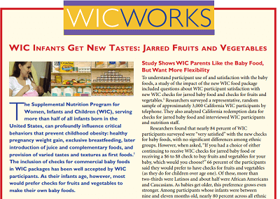 WIC WORKS: WIC Infants Get New Tastes – Jarred Fruits and Vegetables