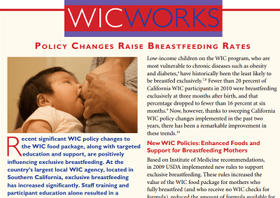 WIC WORKS: Policy Changes Raise Breastfeeding Rates