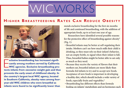 WIC WORKS: Higher Breastfeeding Rates Can Reduce Obesity