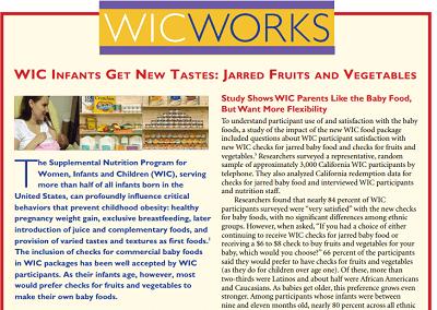 WIC WORKS: WIC Infants Get New Tastes – Jarred Fruits and Vegetables